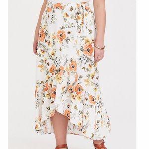 Ivory floral challis ruffle wrap skirt torrid 2